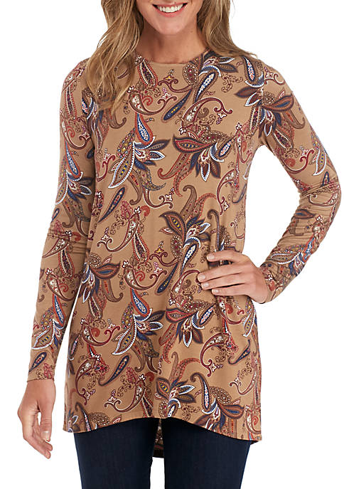 Grace Elements Printed Floral Paisley Shark-Bite Top