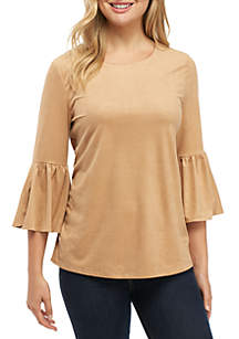 Faux Suede 3/4 Bell Sleeve Top