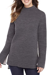 Long Sleeve High Low Double Knit Sweater