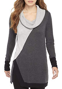 Long Sleeve Colorblock Cowl Neck Sweater