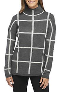 Long Sleeve Mock Neck Grid Plaid Sweater