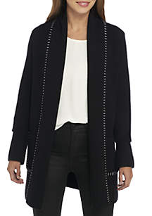 Sweater Coat with Exposed Stitching