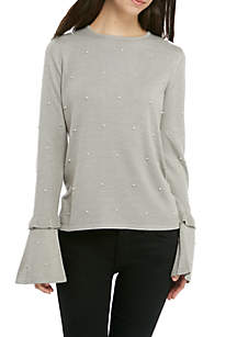 Pearl and Ruffle Sleeved Sweater