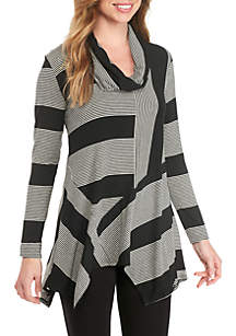 Stripe Long Sleeve Tulip Cowl Neck Top