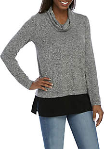 Long Sleeve Marled Cowl Neck Top