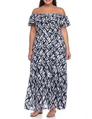 Grace Elements Plus Size Geo Tile Batik Off-the-Shoulder Peasant ...