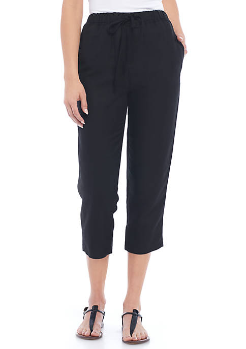 Grace Elements Solid Linen Pants With Drawstring