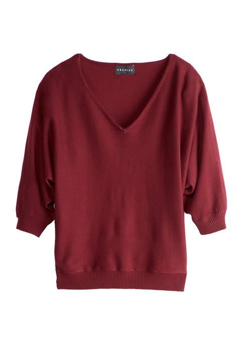 Womens Elbow Dolman Sleeve V-Neck Pullover