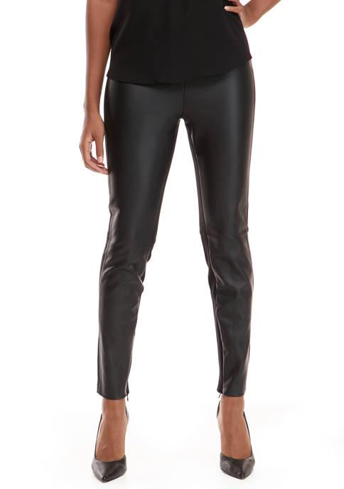 Grace Elements Womens Faux Leather Front Leggings