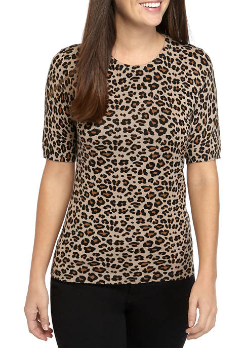 Womens Leopard Elbow Sleeve Crew Neck T-Shirt