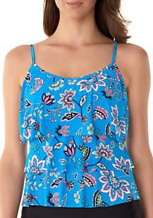 Caribbean Joe Boho Floral Triple Tier Swim Tankini