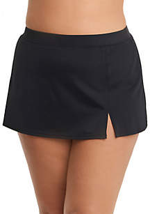 Plus Size Side Slit Swim Skirt