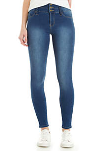 3-Button High Rise Skinny Jeans