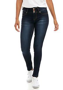 Midrise Three Button Skinny Cuff Jeans