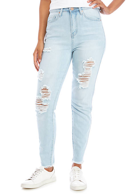 Juniors High Rise Dream Fit Frayed Cuff Jeans