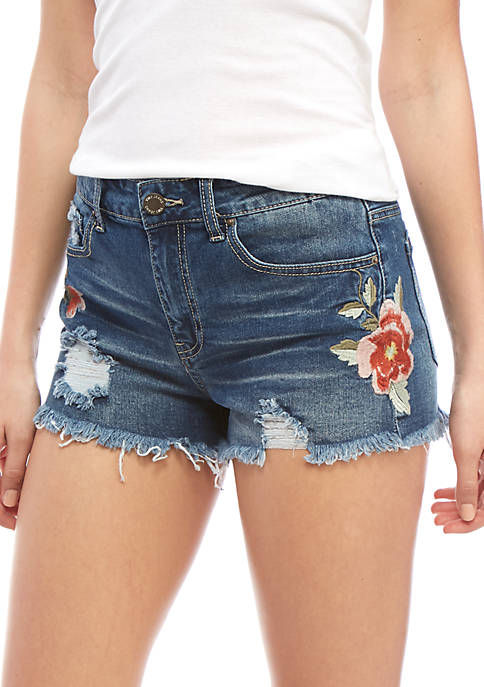 YMI High Rise Embroidered Fray Hem Shorts