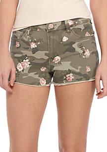 Three Wash Camo Print Floral Shorts