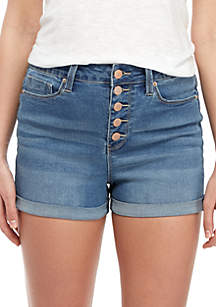 YMI High Rise Exposed Button Cuff Shorts