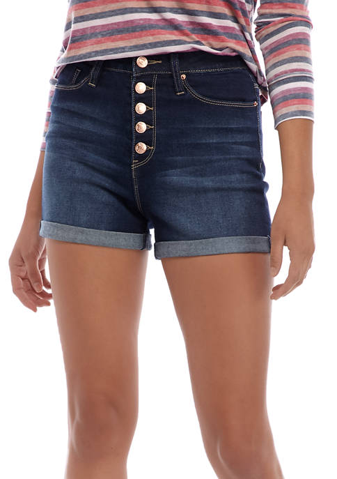 Juniors Exposed Button Roll Cuff Shorts