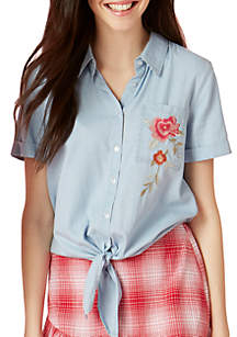 Embroidered Tie Front Chambray Blouse