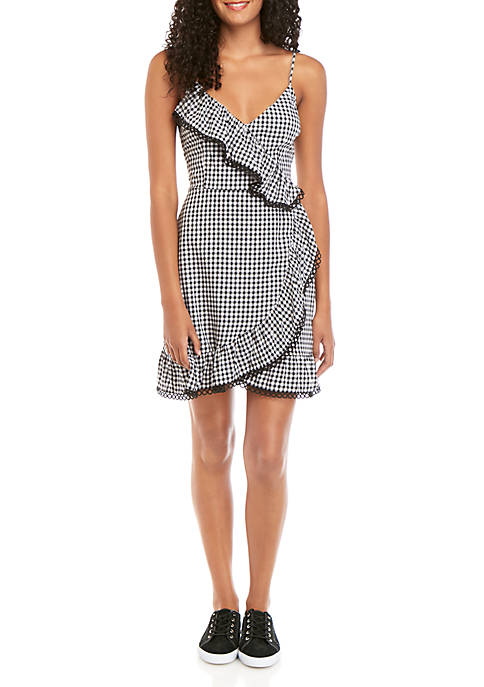 BB Dakota Wrap Time Gingham Dress