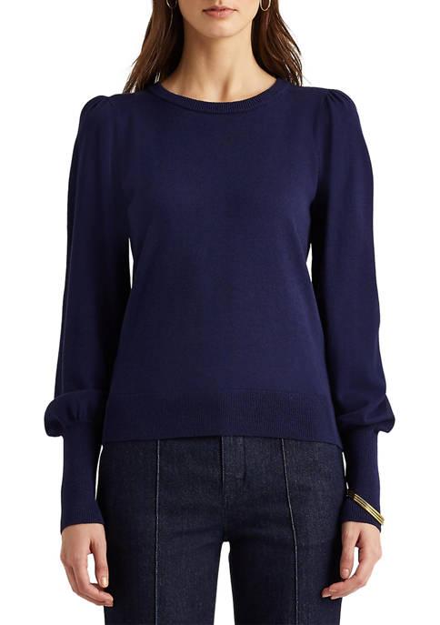 Lauren Ralph Lauren Puff-Sleeve Cotton-Modal Sweater