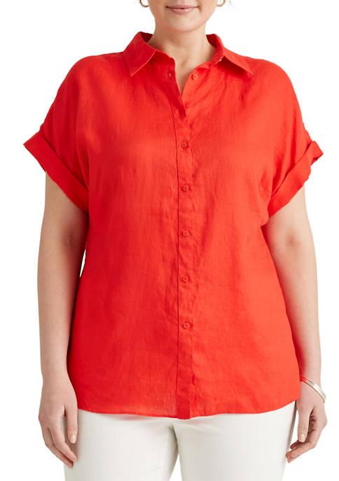 Lauren Ralph Lauren Plus Size Linen Dolman Sleeve