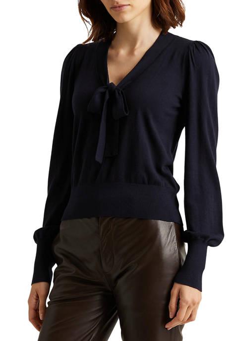 Lauren Ralph Lauren Cotton-Blend Puff-Sleeve Sweater
