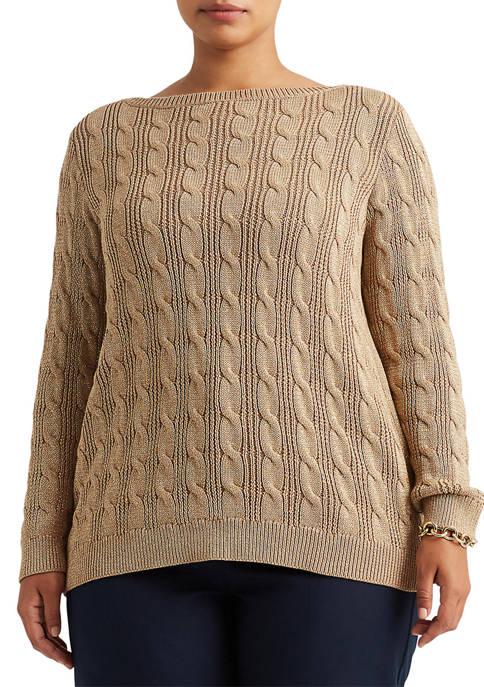 Lauren Ralph Lauren Plus Size Cable Knit Cotton