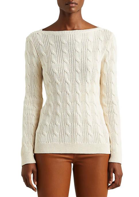 Lauren Ralph Lauren Cable-Knit Cotton Boat Neck Sweater