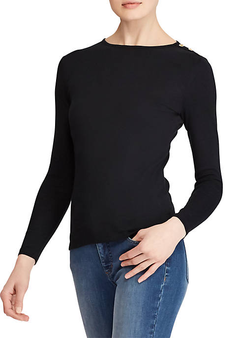 Lauren Ralph Lauren Buttoned-Shoulder Top