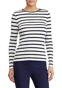Buttoned-Shoulder Striped Top