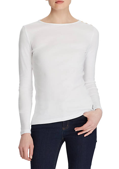 Lauren Ralph Lauren Cotton Crew Neck Top