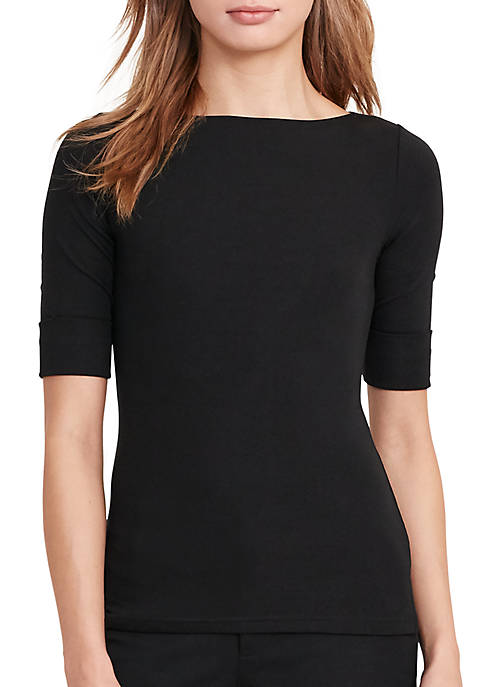 Stretch Cotton Boat Neck Tee