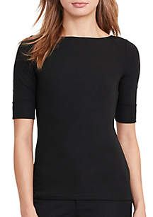 Lauren Ralph Lauren Stretch Cotton Boat Neck Tee