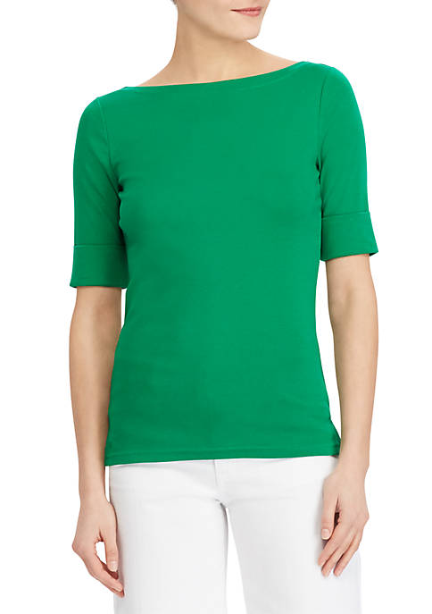 Lauren Ralph Lauren Elbow-Sleeve Boat Neck Top