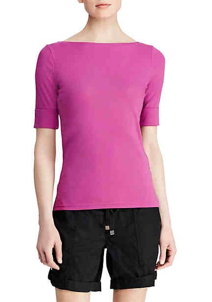 Lauren Ralph Lauren Cotton Boat Neck T-Shirt ...