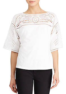 Lauren Ralph Lauren Eyelet-Embroidered Top