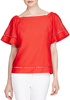 Lauren Ralph Lauren Cotton-Silk Off-the-Shoulder Top