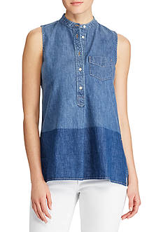 Lauren Ralph Lauren Sleeveless Denim Shirt