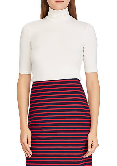 Lauren Ralph Lauren Elbow Sleeve Turtleneck Top