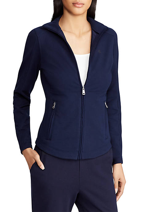 Lauren Ralph Lauren Stretch Zip Mockneck Jacket