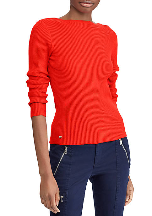 Cotton-Blend Boat-neck Sweater