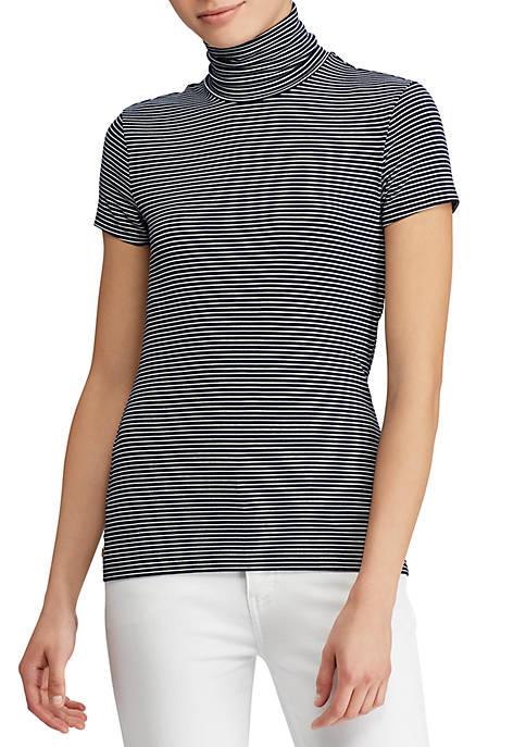 Jersey Short-Sleeve Turtleneck