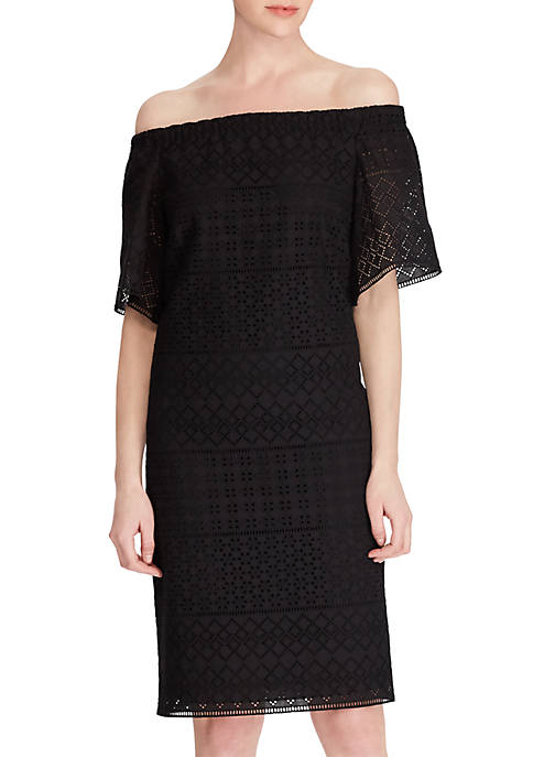 Lauren Ralph Lauren Eyelet Cotton Off-the-Shoulder Shift Dress