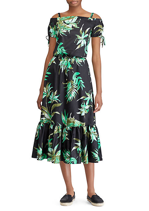 Lauren Ralph Lauren Floral-Print Sateen Off-the-Shoulder Dress