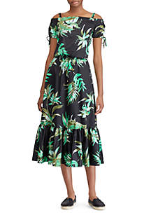 Floral-Print Sateen Off-the-Shoulder Dress