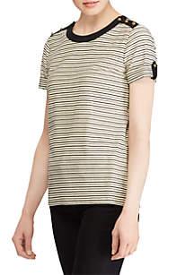 Striped Button-Shoulder Top