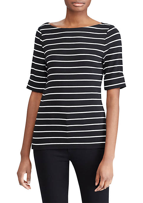 Lauren Ralph Lauren Striped Cotton Boat Neck T-Shirt