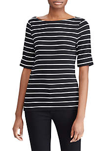 Striped Cotton Boat Neck T-Shirt